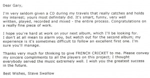 E-mail from Steve Swallow
